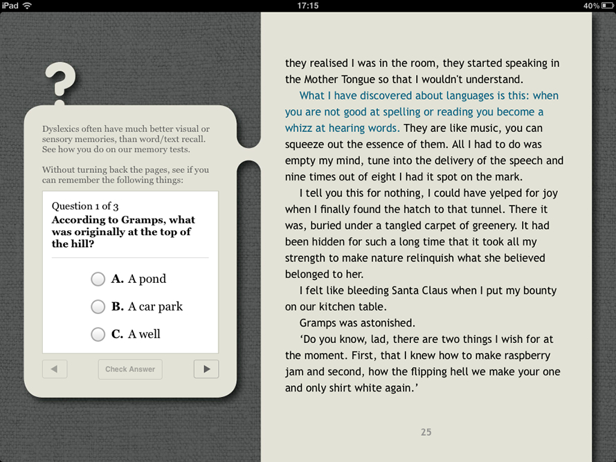 Screenshot of iBook